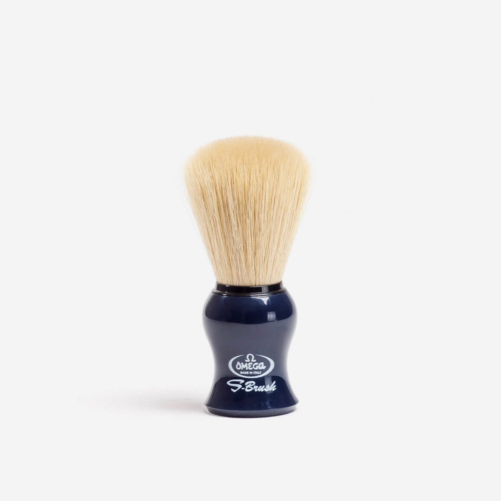 Omega S10065 Synthetic Fibre Shaving Brush with Blue Handle