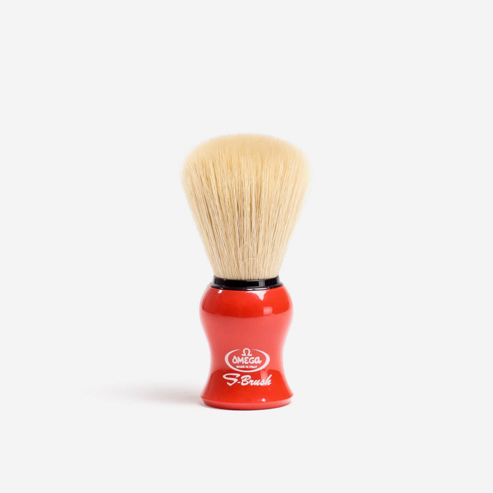 Omega S10065 Synthetic Fibre Shaving Brush with Red Handle