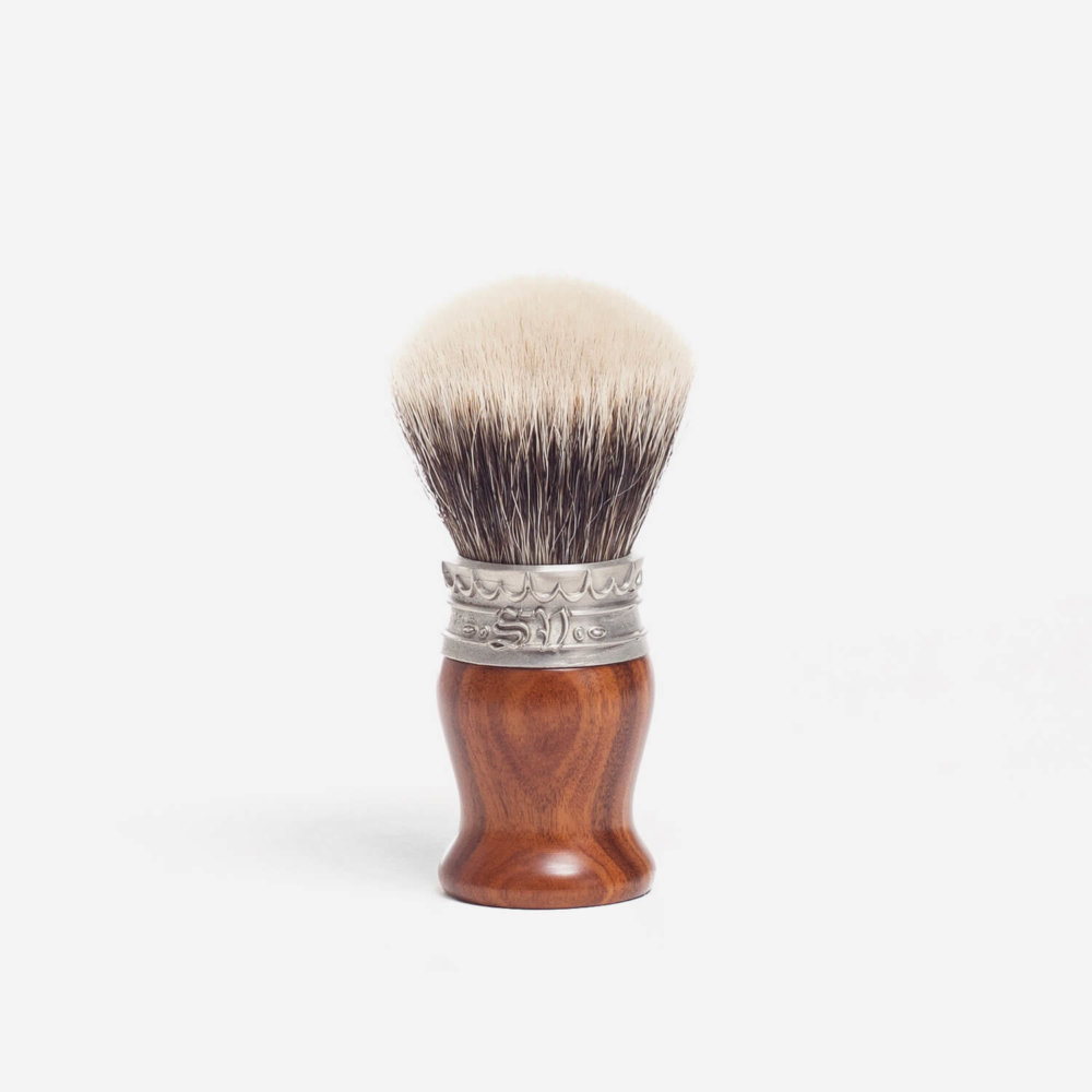 Saponificio Varesino White Badger Shaving Brush with Rosewood Handle
