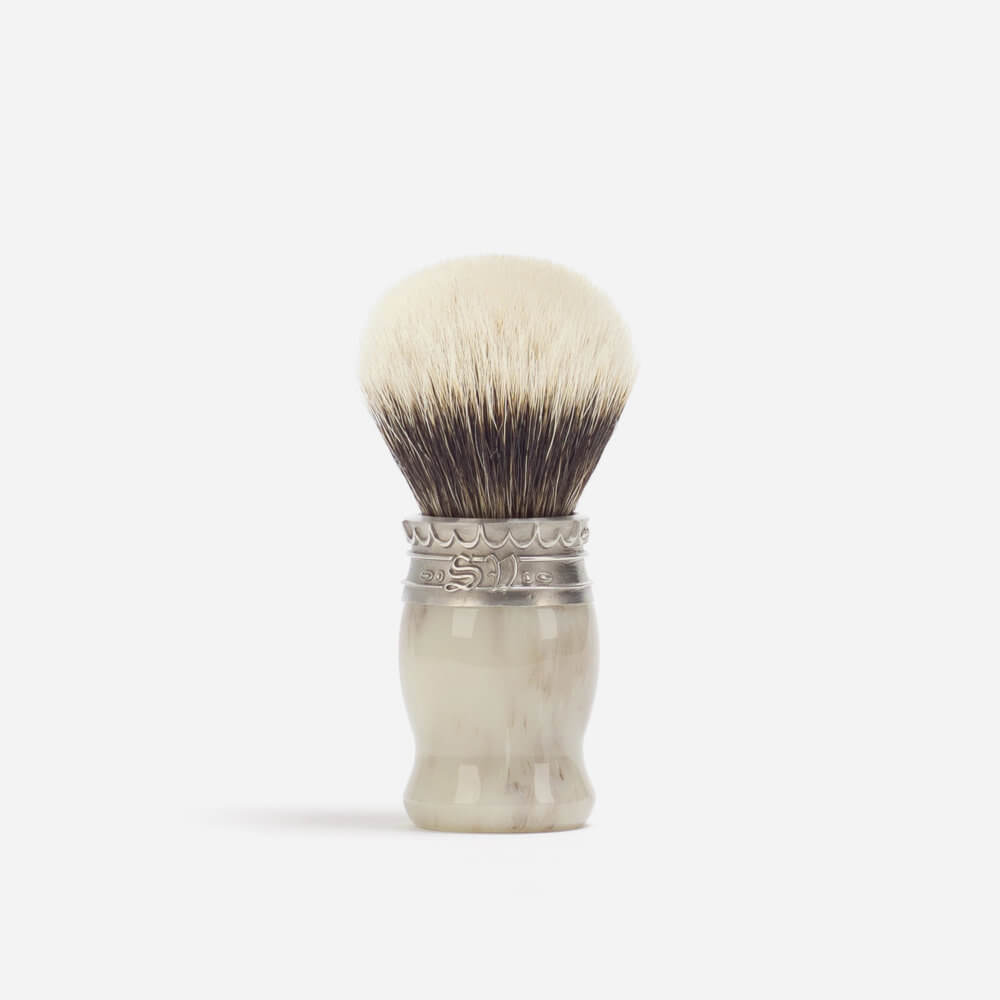 Saponificio Varesino White Badger Shaving Brush - Faux Horn