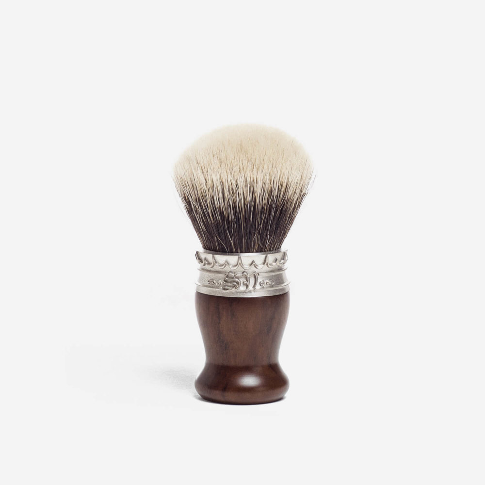 Saponificio Varesino White Badger Hair Shaving Brush with Imbuia Wood Handle