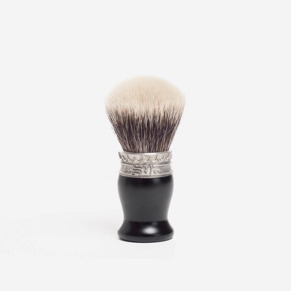 Saponificio Varesino White Badger Shaving Brush with Ebony Handle
