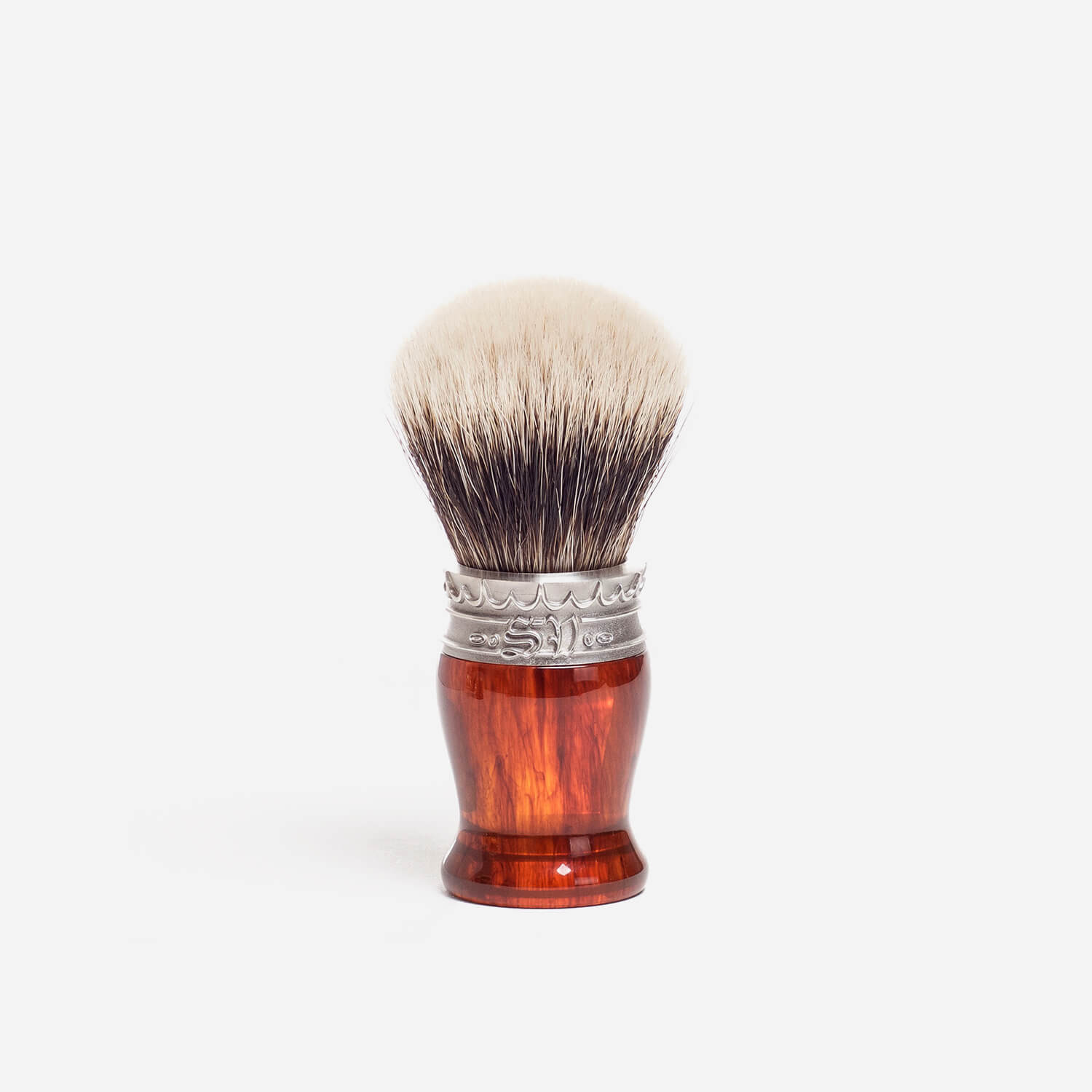 Saponificio Varesino White Badger Shaving Brush with Turtle Shell Handle