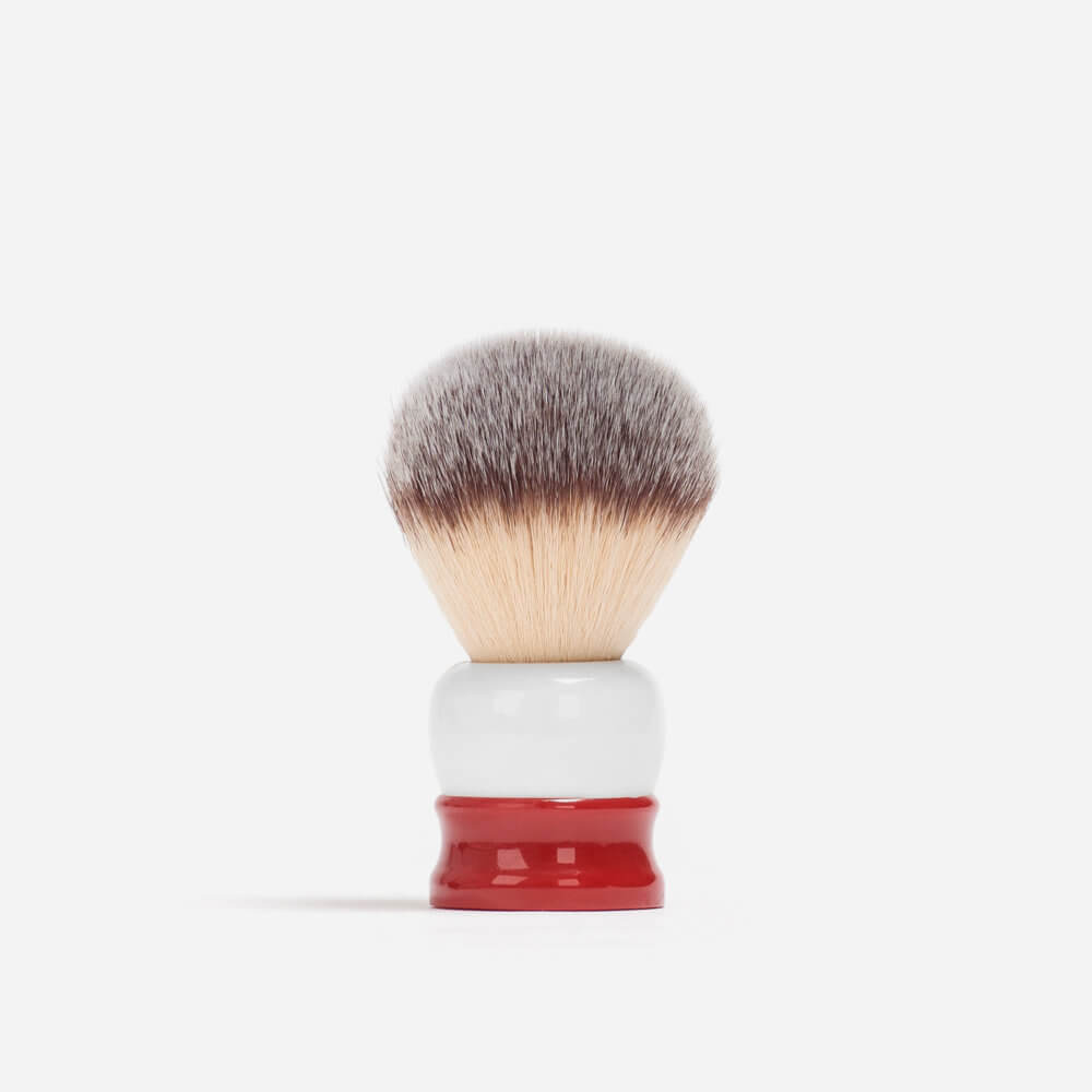 Fine 'Stout' Synthetic Fibre Shaving Brush (Red)