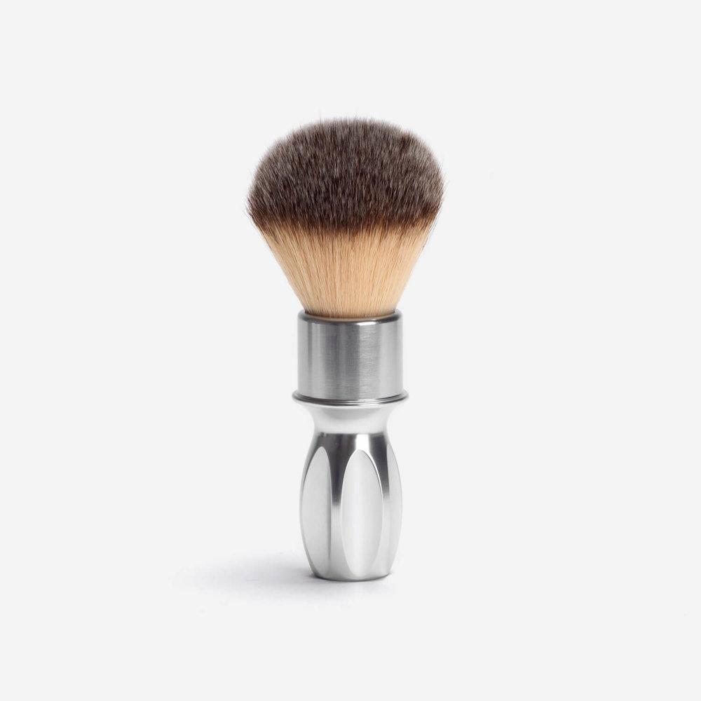RazoRock 400 Plissoft Synthetic Shaving Brush Silver Aluminium