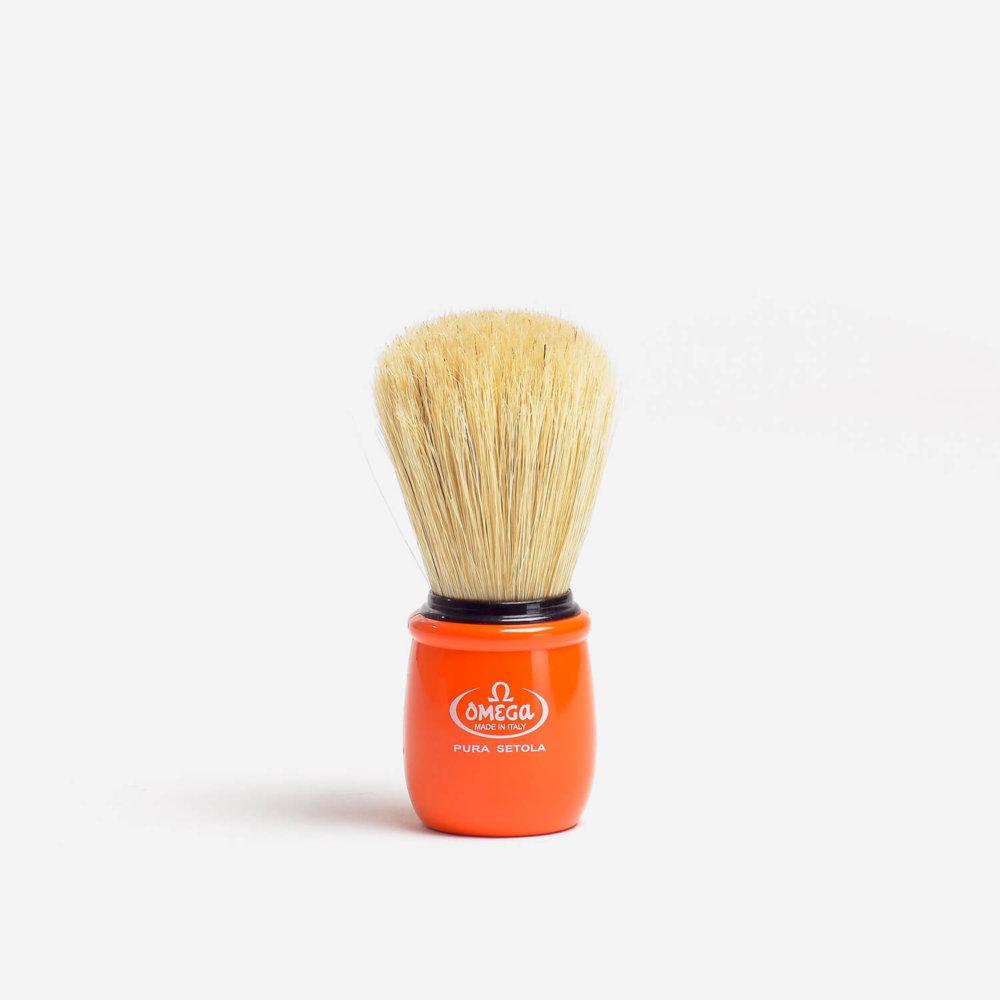 Omega 10051 Boar Hair Shaving Brush with Orange Handle