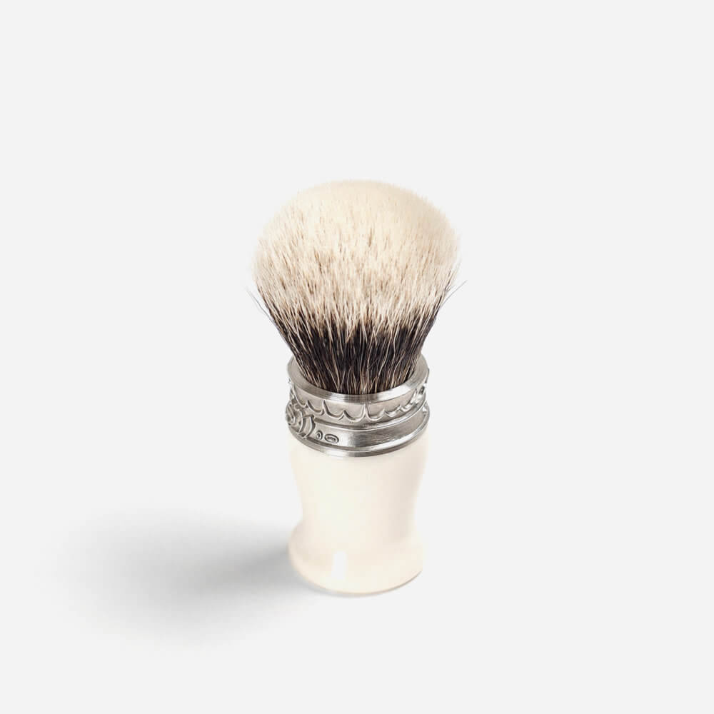 Saponificio Varesino White Badger Shaving Brush with Faux Ivory Handle