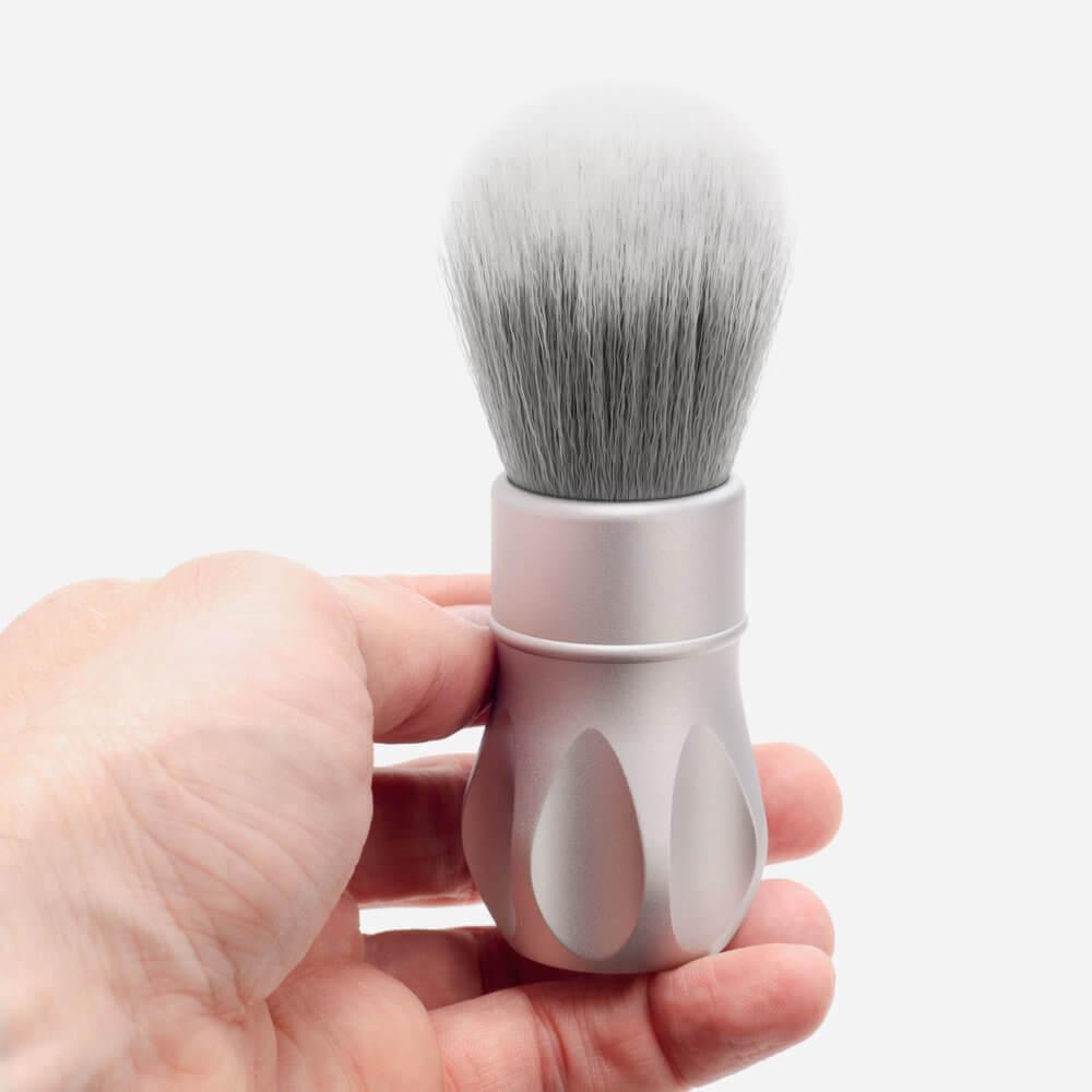 Alpha Shaving Outlaw Shaving Brush - Matte Silver