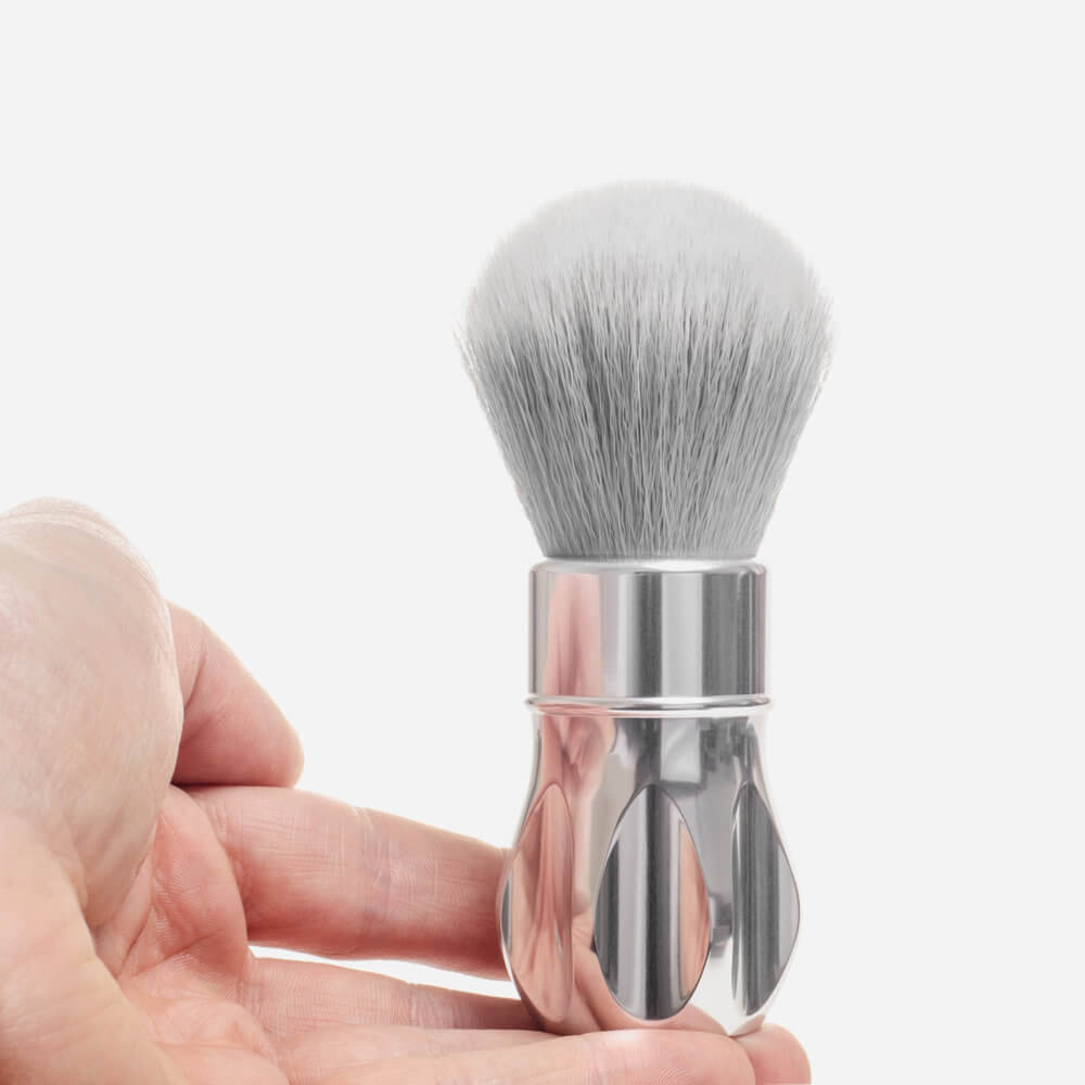 Alpha Shaving Outlaw Synthetic Shaving Brush - polished silver